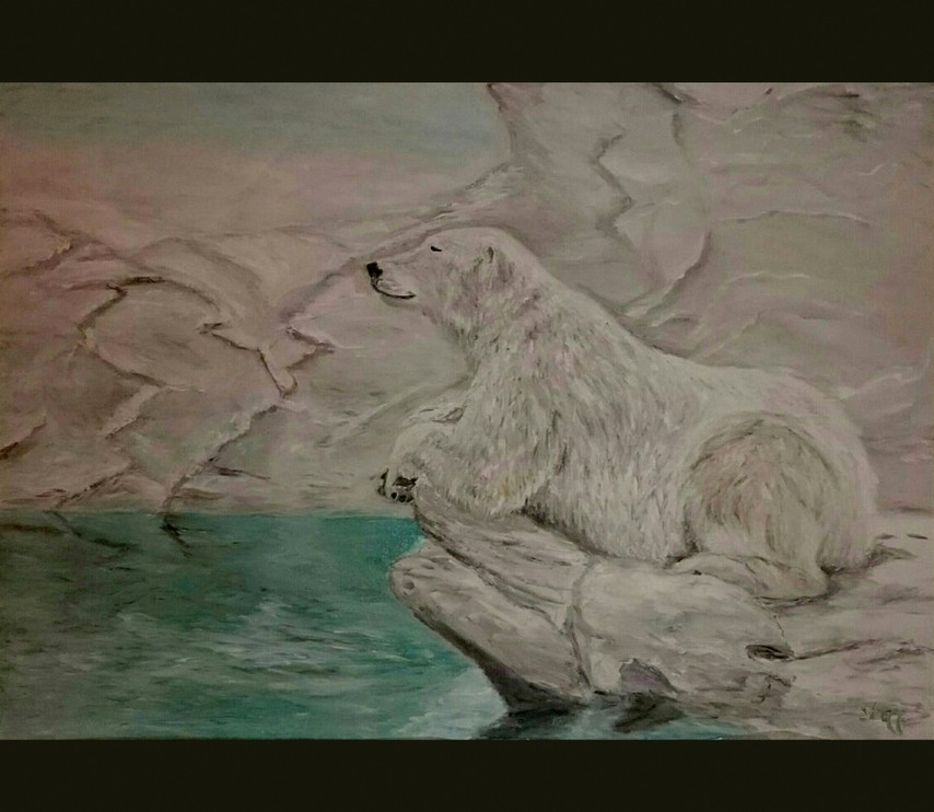 Картина Белая медведица на отдыхе художник Елена Старикова псевдоним Хелленка Стар Hellenka Star