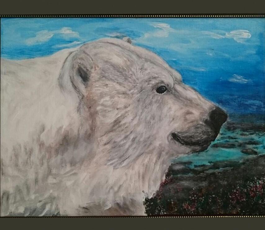 Картина Портрет белого медведя художник Елена Старикова псевдоним Хелленка Стар Hellenka Star