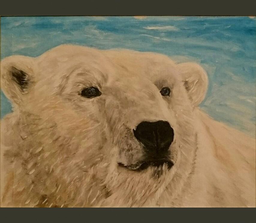 Картина Белый медведь художник Елена Старикова псевдоним Хелленка Стар Hellenka Star