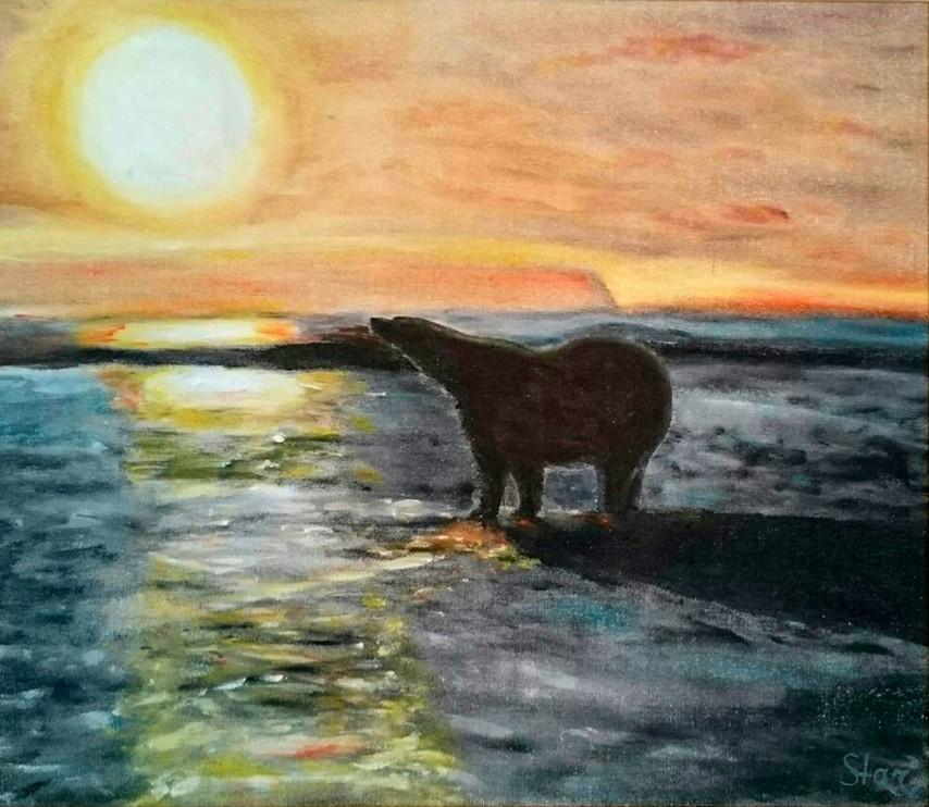 Картина Медведь на рассветехудожник Елена Старикова псевдоним Хелленка Стар Hellenka Star