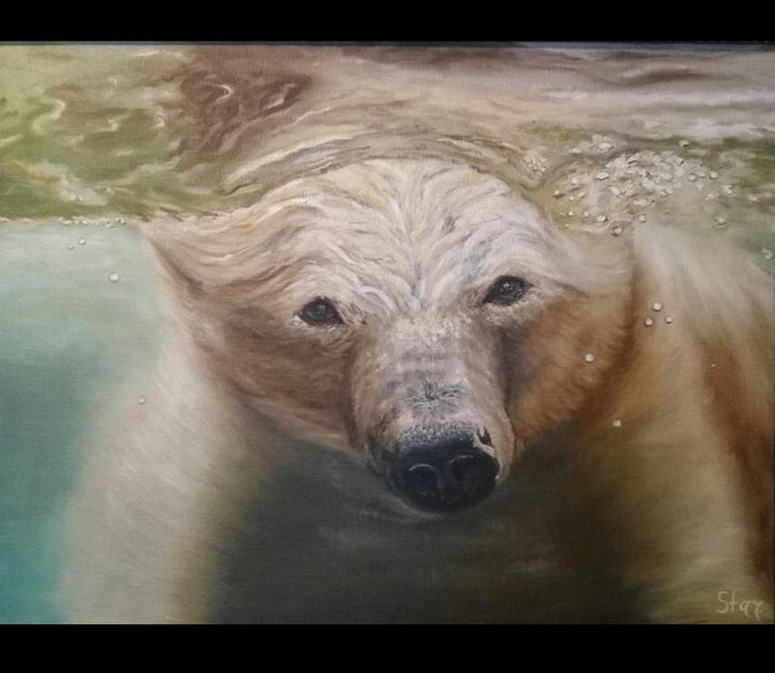 Картина Медведь под водой художник Елена Старикова псевдоним Хелленка Стар Hellenka Star