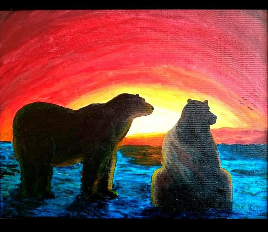 Картина Медведи на закате художник Елена Старикова псевдоним Хелленка Стар Hellenka Star