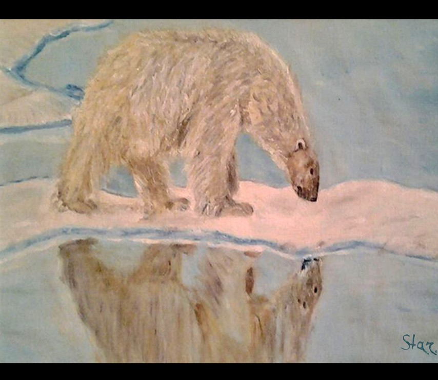 Картина Отражение, белый медведь художник Елена Старикова псевдоним Хелленка Стар Hellenka Star